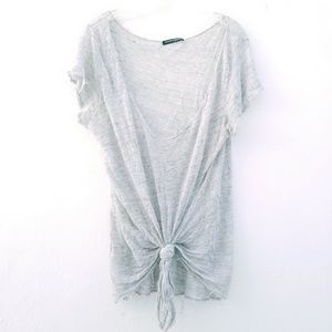 Brandy Melville Gray Tattered Tie Front T Shirt